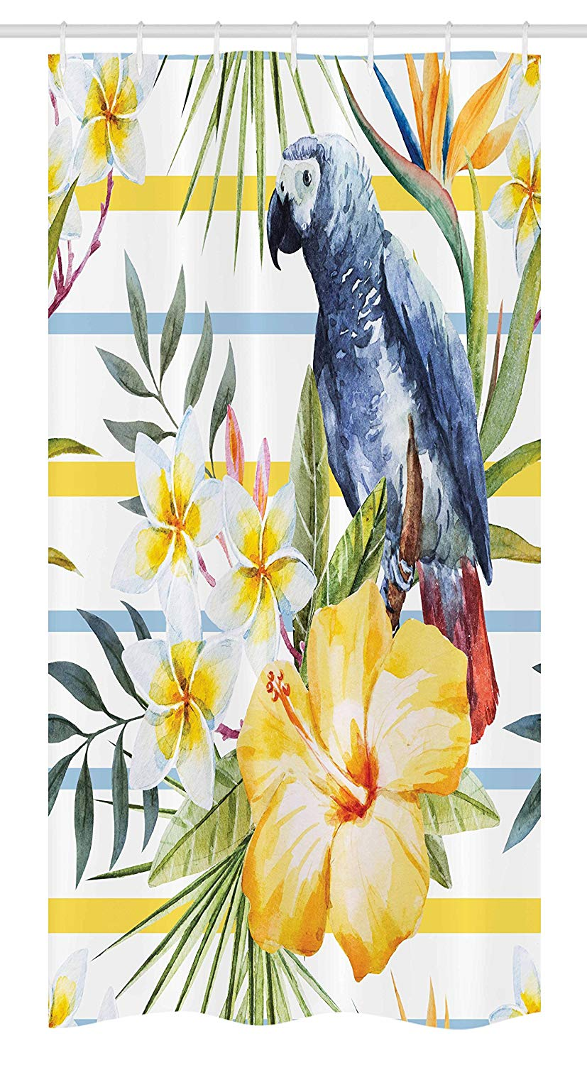 "Ambesonne Parrot Stall Shower Curtain, Tropic Pattern with Parrot Orchids and Hibiscus Flowers Hawaiian Jungle Style Image, Fabric Bathroom Decor Set with Hooks, 36"" X 72"", White Yellow"