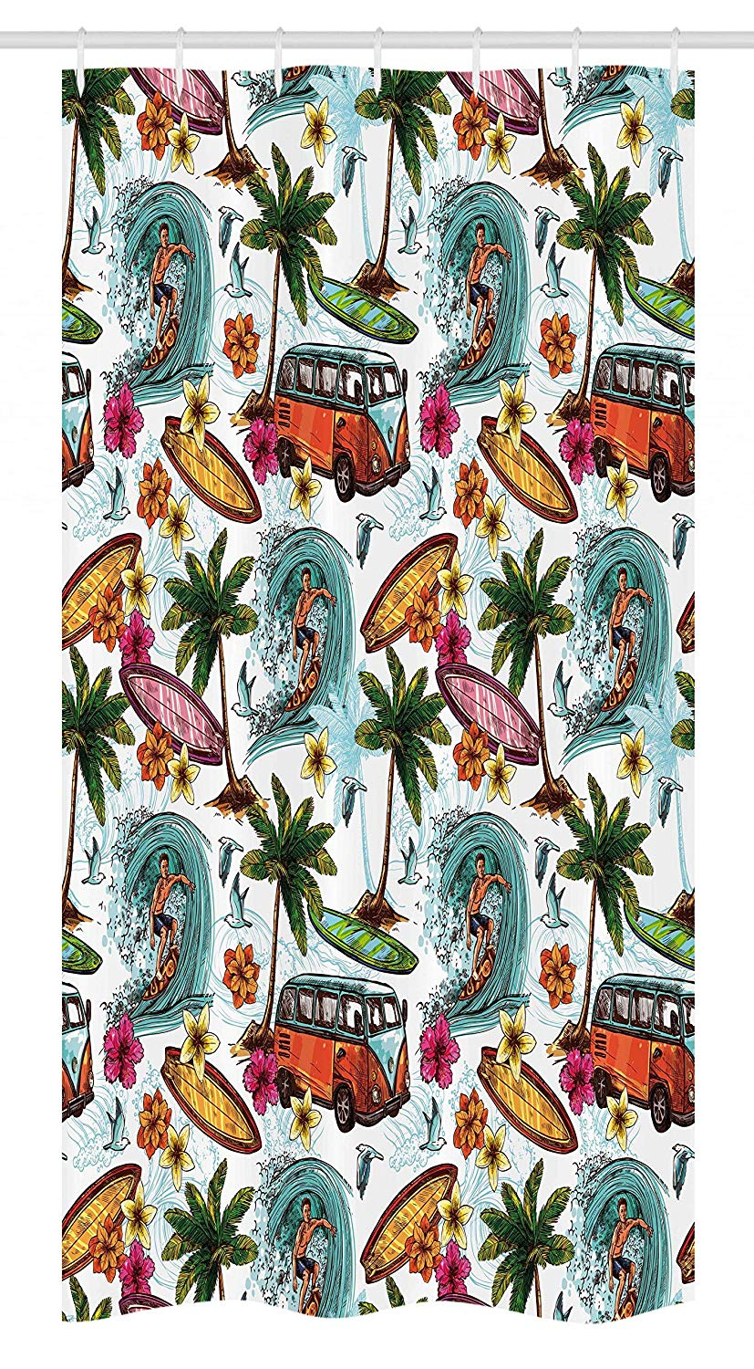 "Ambesonne Ocean Stall Shower Curtain, Hawaiian Surfer on Wavy Deep Sea Retro Style Palm Trees Flowers Surf Boards Print, Fabric Bathroom Decor Set with Hooks, 36"" X 72"", Multicolor"