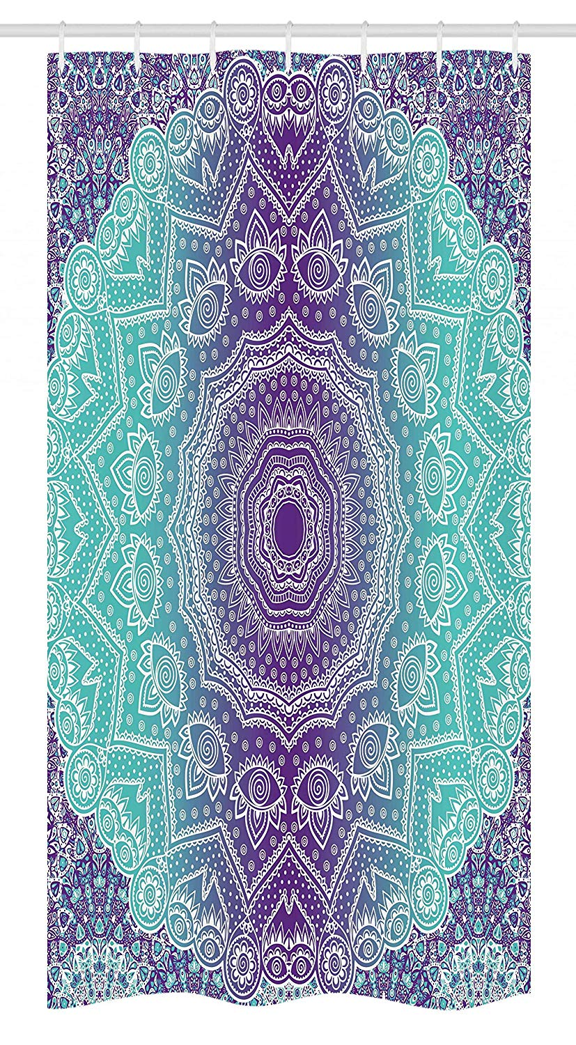 Ambesonne Purple and Turquoise Stall Shower Curtain, Hippie Ombre Mandala Inner Peace and Meditation with Ornamental Art, Fabric Bathroom Decor Set with Hooks, 36 W x 72 L Inches, Purple Aqua