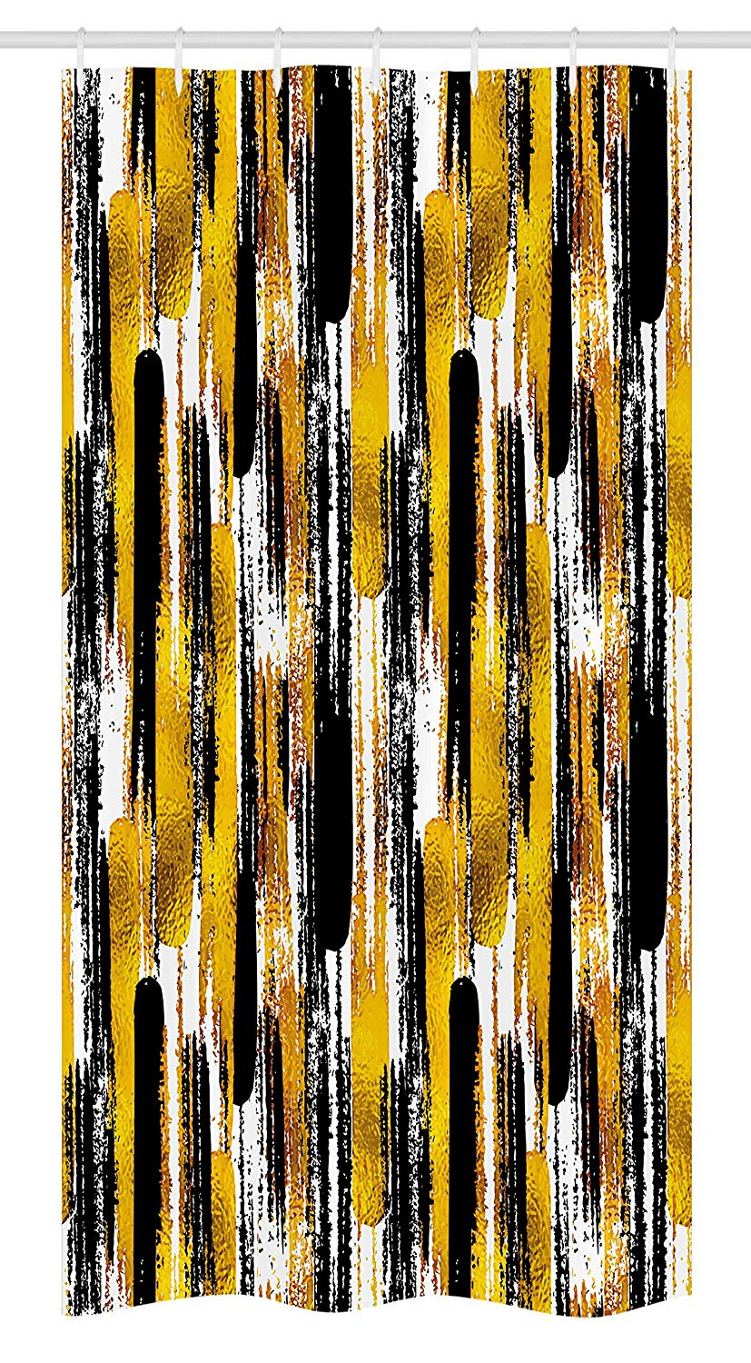 "Ambesonne Modern Art Stall Shower Curtain, Watercolored Grunge Brushstroke Expressionist Background Paint Effects, Fabric Bathroom Decor Set with Hooks, 36"" X 72"", Yellow Black"