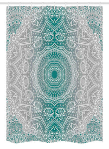 Ambesonne Grey and Teal Stall Shower Curtain, Mandala Ombre Sacred Geometry Occult Pattern with Flower Lines Display Artwork, Fabric Bathroom Decor Set with Hooks, 54 W x 78 L Inches, Teal Grey