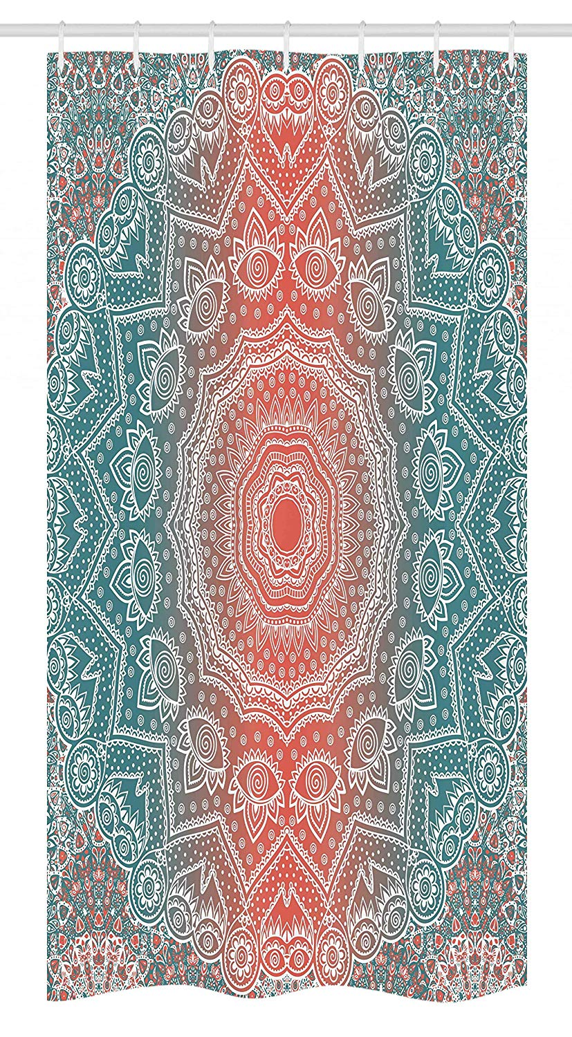 "Ambesonne Coral and Teal Stall Shower Curtain, Modern Tribal Mandala Tibetan Healing Motif with Floral Geometric Ombre Art, Fabric Bathroom Decor Set with Hooks, 36"" X 72"", Coral Teal"