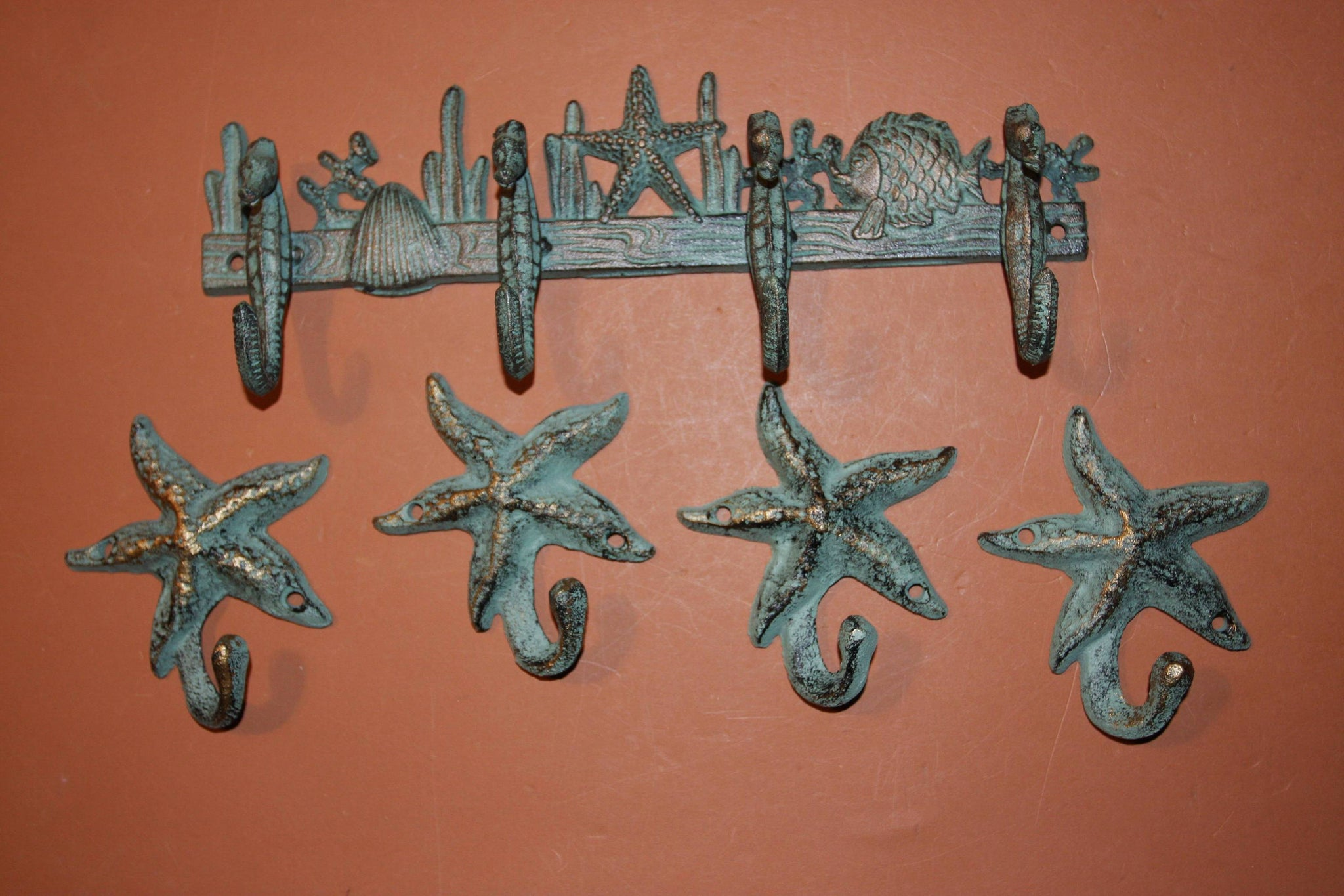 5), Seahorse Towel Hook Set of 5, Free Shipping, Cast Iron Bronze-look Seahorse Starfish Bath Towel Hook Set, Beach,  H-32,N-24
