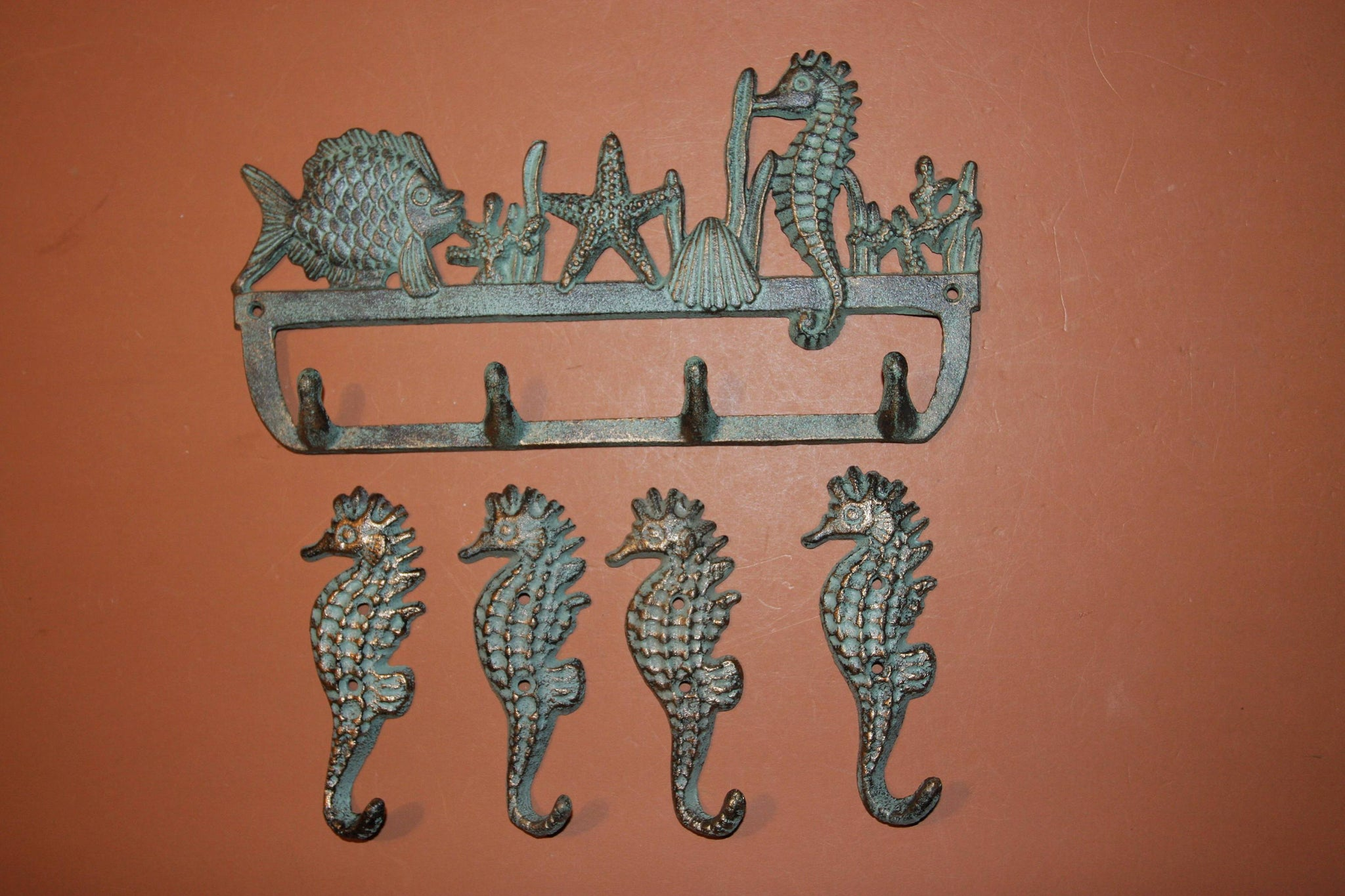 5), Vintage-look Coastal Living Beach Bathroom Towel Hook Set of 5, Free Shipping, Cast Iron Bronze-look, Towel Hooks, H-34,N-25