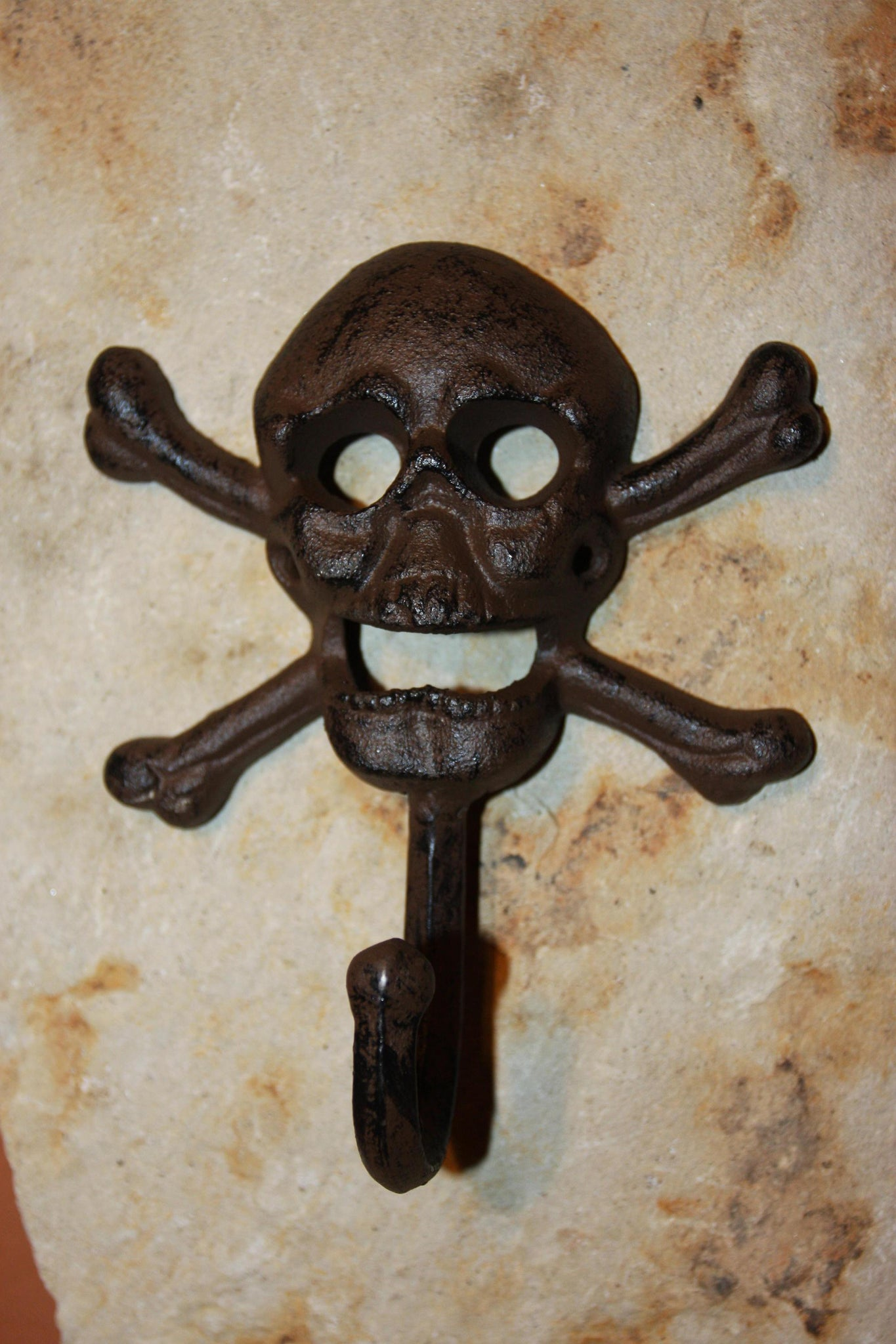 Skull and Crossbone wall decor, skull and crossbone towel hook, skull bath decor, cast iron skull wall hook, free shipping, H-66