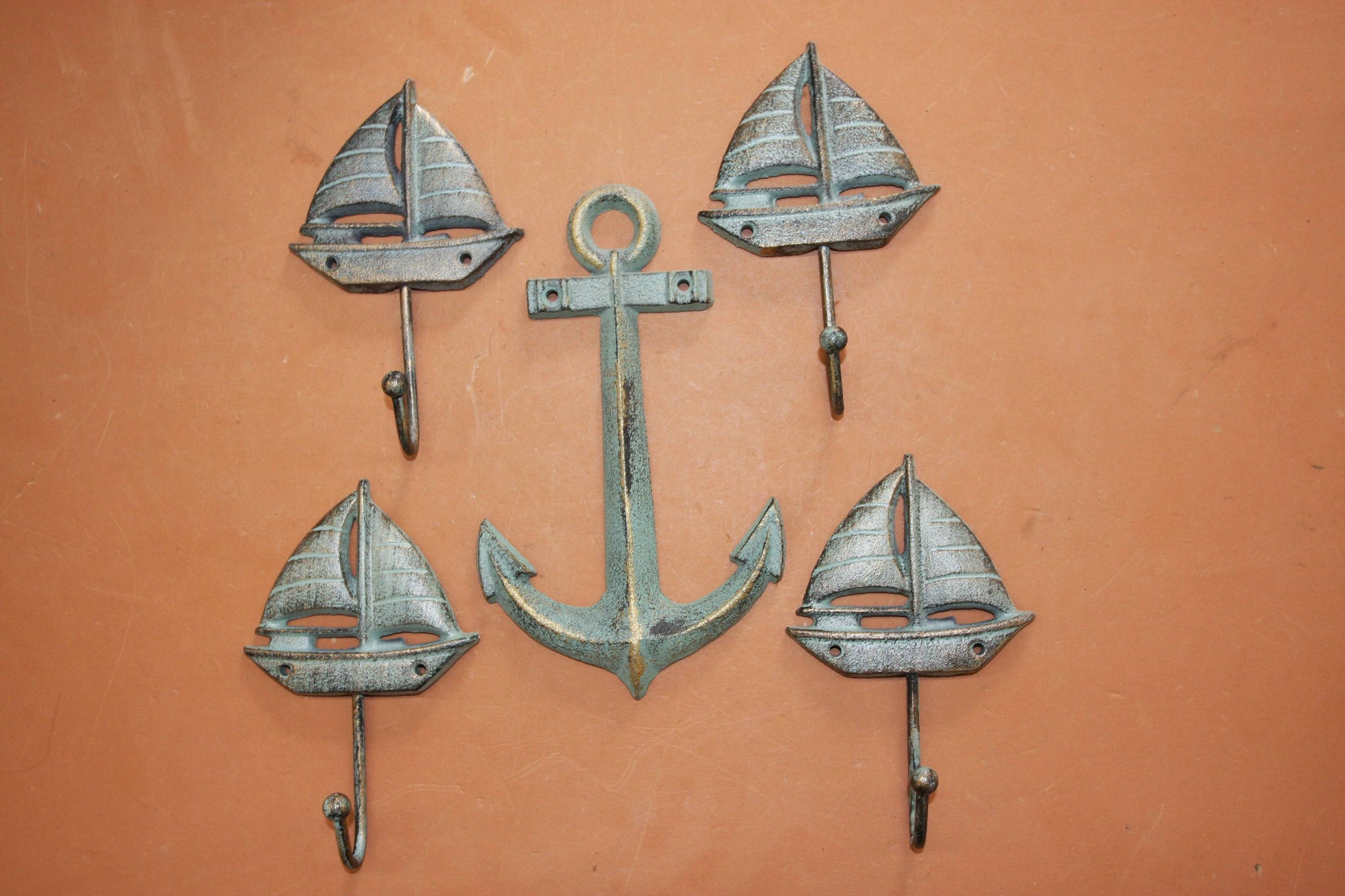 5) Sailboat Design Boys Bathroom Decor, Bronze-look Sailboat Towel Hooks & Anchor Plaque, Cast Iron, Smooth Sailing, Free Ship