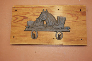 Country Western Towel Hook Rack Wall Mounted, Handmade in USA, Cast Iron, Reclaimed 100 Year Old Wood, The Country Hookers, CH-15