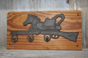 Rustic Cowboy Bath Towel Hook Rack Wall Mounted, Handmade in USA, Cast Iron, Reclaimed 100 Year Old Wood, The Country Hookers, CH-10