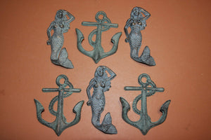 6) Antiqued Look Coastal Mermaid Wall Hooks, Anchor Coat Hat Towel Hooks, Bronze Look Cast Iron, Mermaid Sailor Home Decor