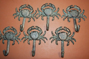 "She Shed Beach Cottage Sealife Towel Hooks, Crab Ocean Nautical Bath Decor, Bronze Look Cast iron, 5 1/4"" high, BL-34"