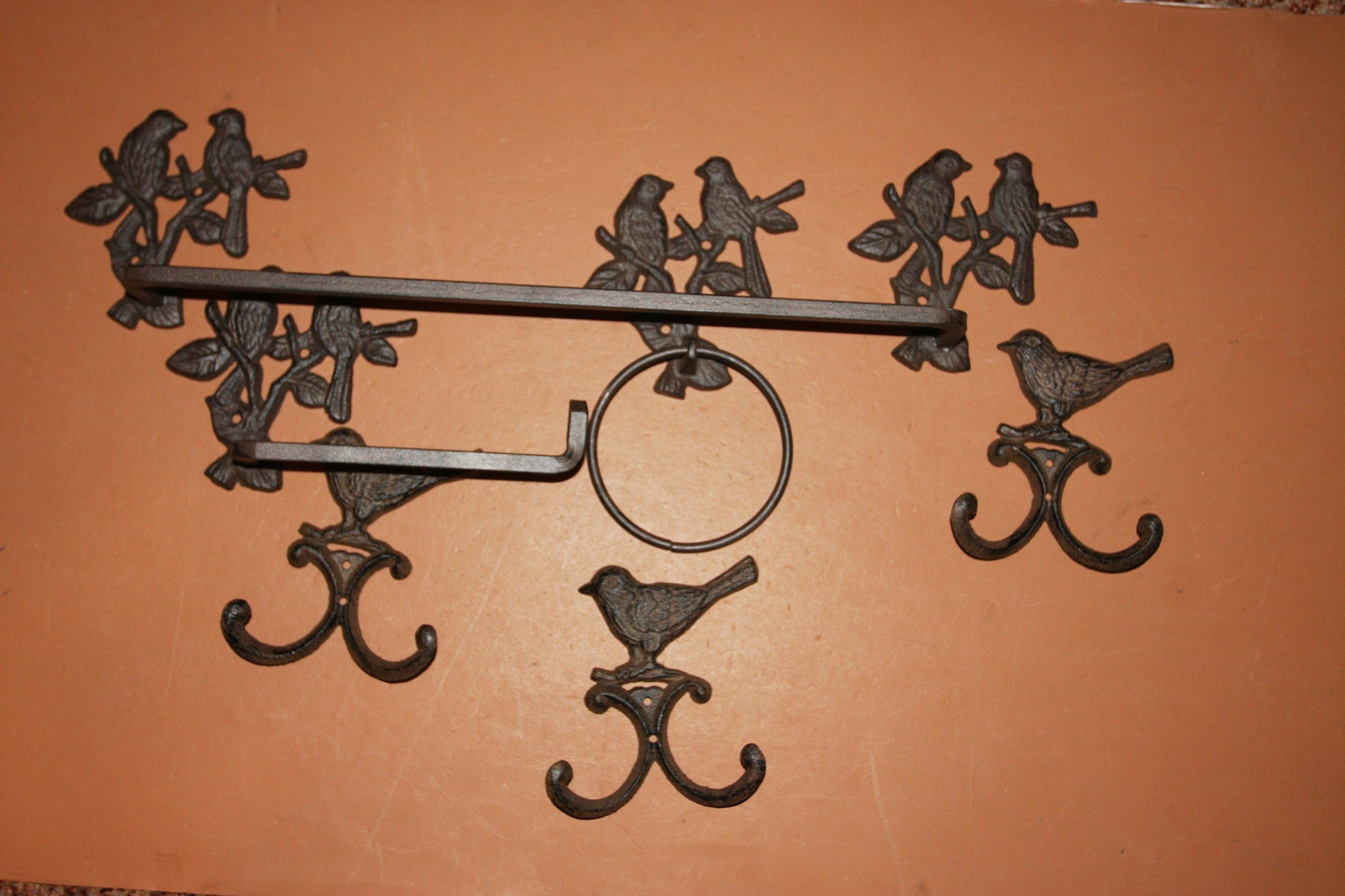6) Cast Iron Wild bird bathroom accesories hardware, towel rack, towel hooks, toilet paper holder