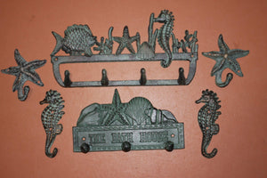 6) Beach House Wall Hooks Set Bronze Look Cast Iron, Towels Keys Coats Hats Jewelry Purses Leashes Wall Hooks, Sea Breeze