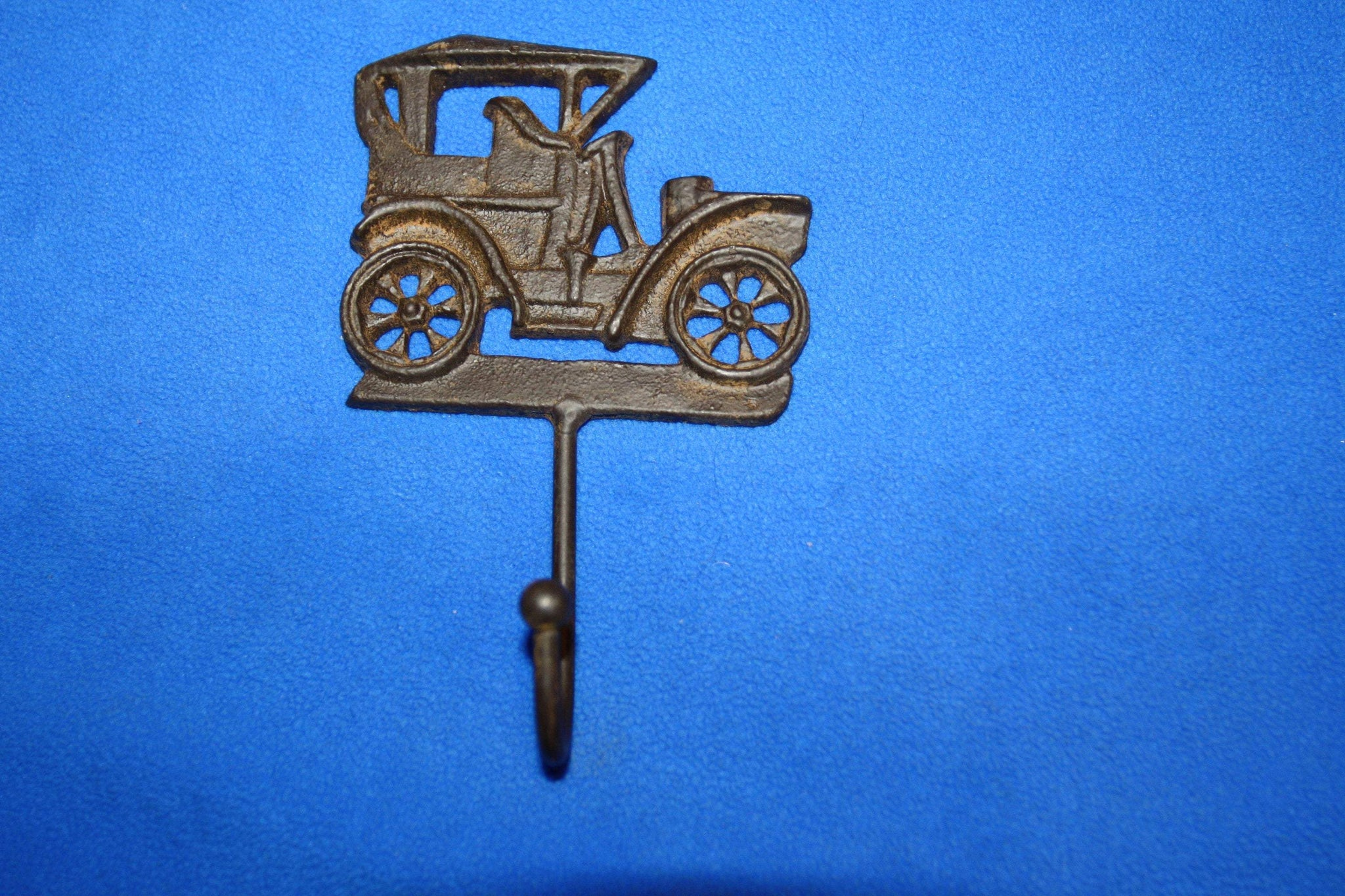 Vintage Car Design Wall Decor Cast Iron Wall Hooks 6 inch Coat Hat Towel Hooks Rustic Brown, Volume Priced, H-25