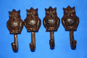 "4) Owl Bath Towel Hooks Vintage-look Cast Iron, 5"" tall, Nature Forest Wildbirds Bath Decor, Set of 4, H-43"