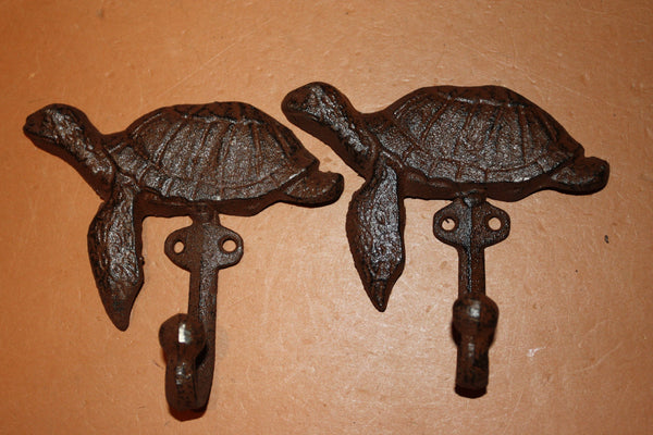 "Cast Iron Sea Turtle Towel Hooks 5"" x 4 1/2 inch Volume Priced ~ H-103"