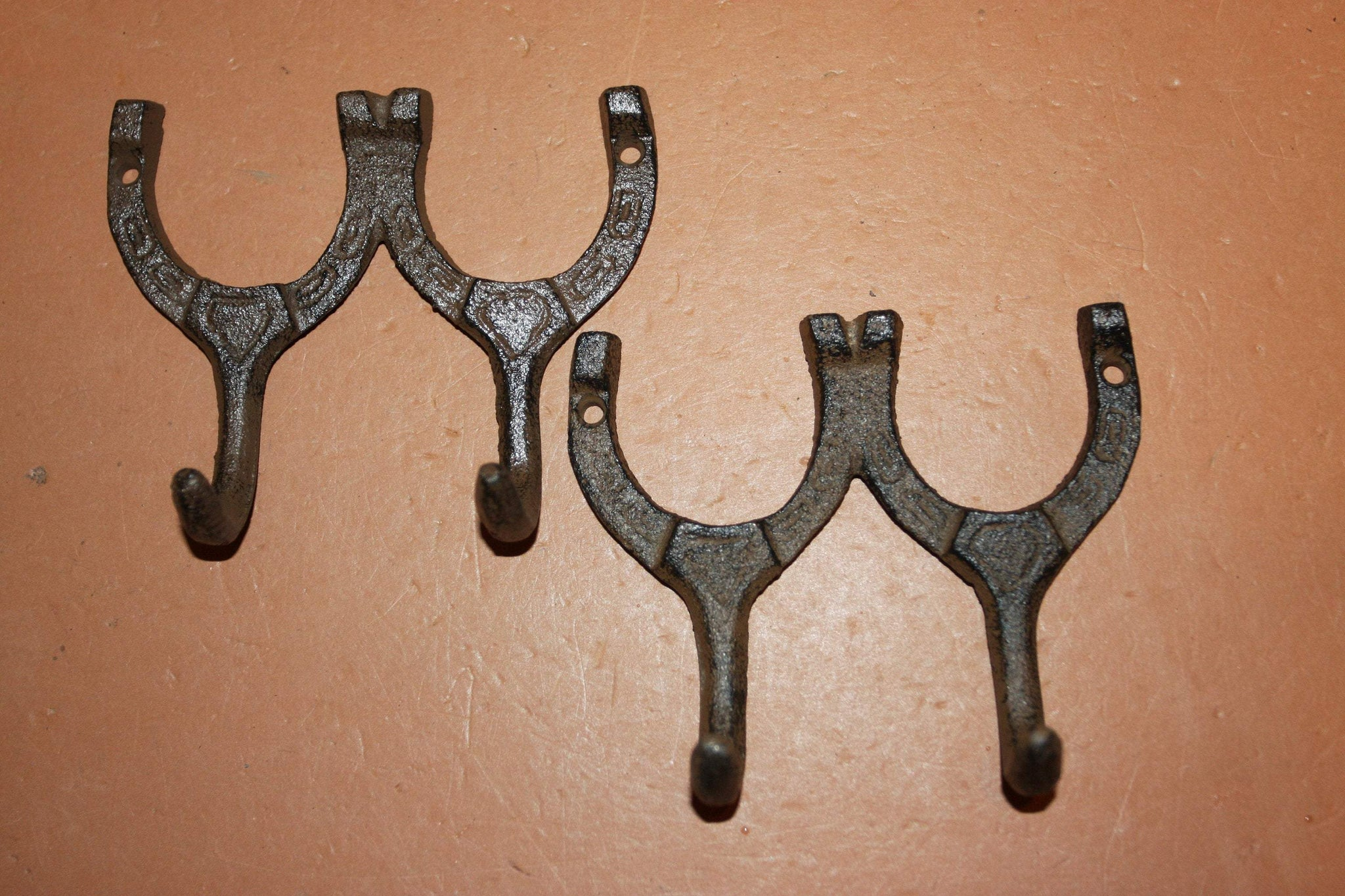 Horseshoe Towel Hooks, 4 inch Rustic Cast Iron Barn Farm Ranch Bathroom Decor, Volume Priced, W-9