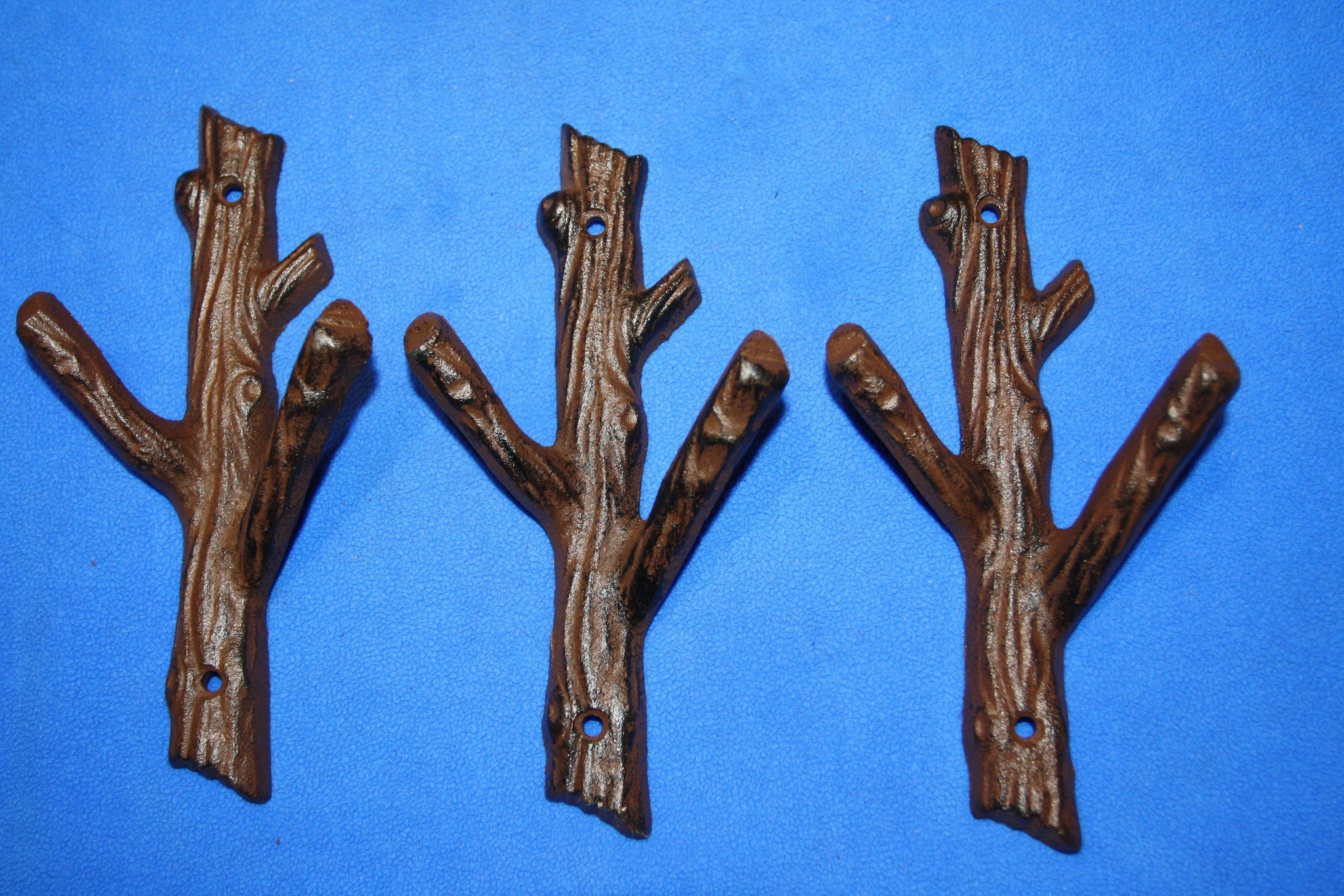 "3) Country Cabin Theme Bathroom Decor, Tree Branch Towel Hooks, Cast Iron, 7 1/2"" tall, Set of 3, H-42"