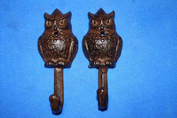 "Owl Bath Towel Hooks, Cast Iron, 5"" tall, Volume Priced, H-43"