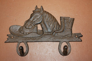 Cast Iron Cowboy Bathroom Decor, Horse Cowboy Boots & Hat Bath Towel Hooks, 8 1/4 inch W-7