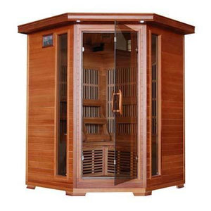 Pure Heat 3 Person Cedar Carbon Corner Unit Sauna
