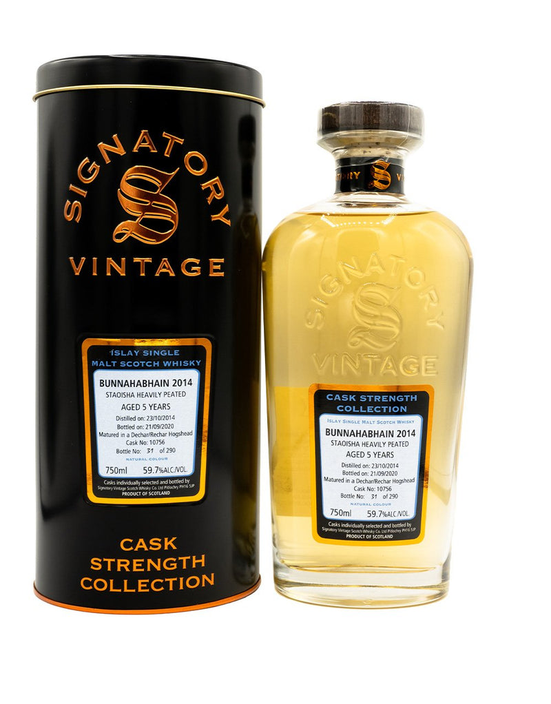 Signatory Single Cask Staoisha (heavily peated Bunnahabhain) 5 year (Cask #10756)