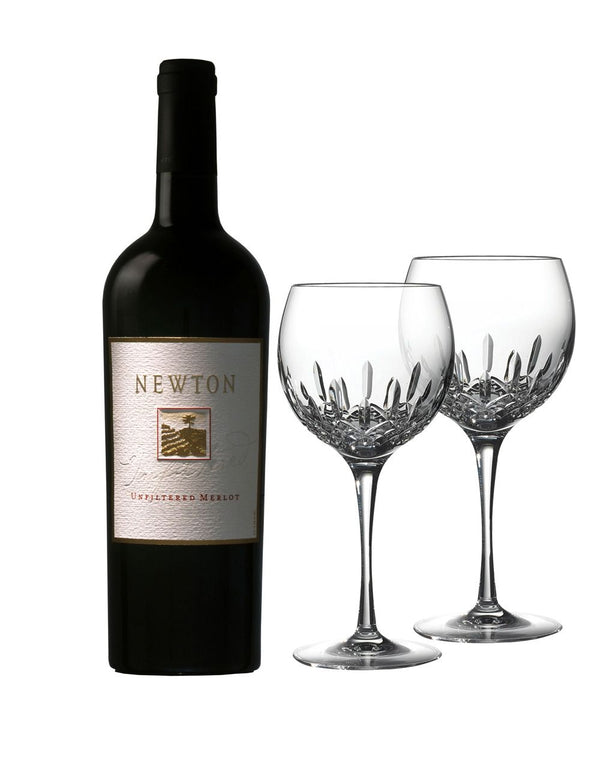 Newton Unfiltered Merlot with Waterford Lismore Essence Balloon Wine Pair