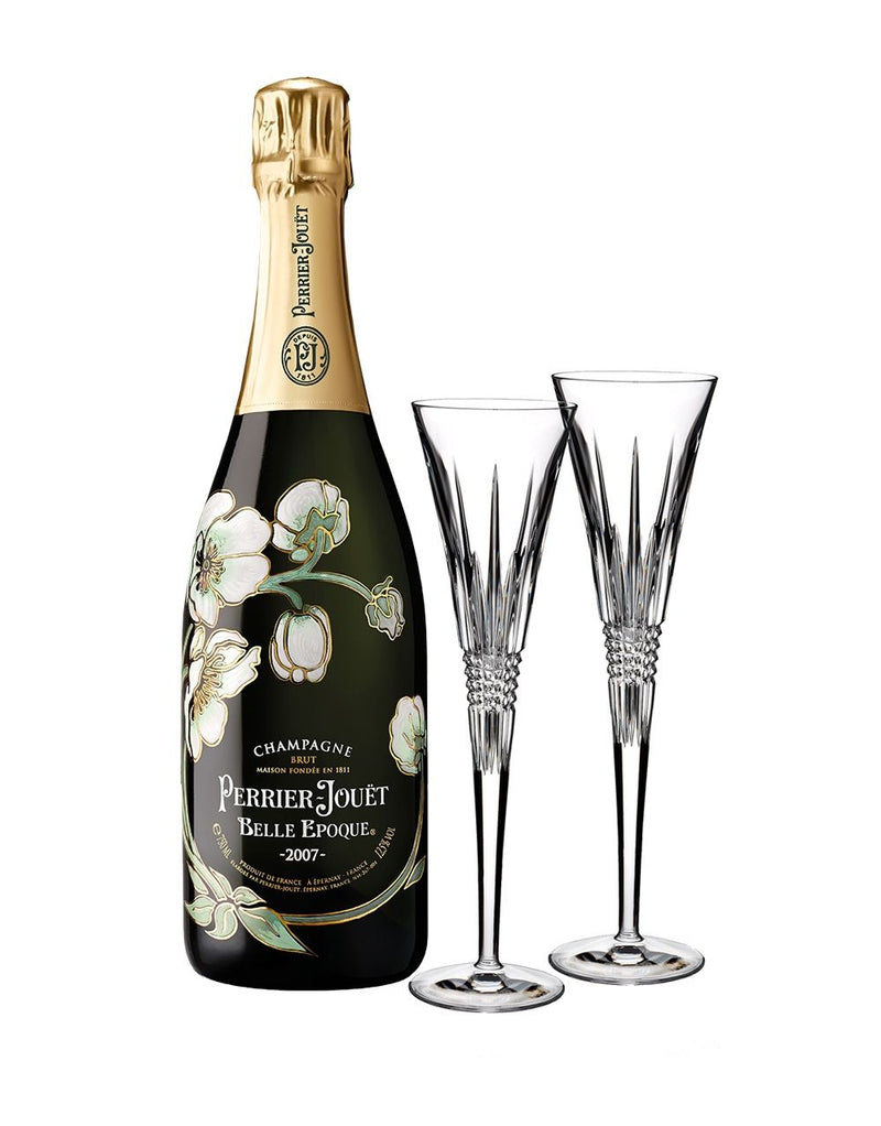 Perrier-Jouët Belle Epoque Vintage with Waterford Lismore Diamond Toasting Flute Pair