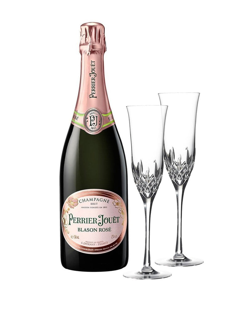 Perrier-Jouët Blason Rosé Brut NV with Waterford Lismore Essence Champagne Flute Pair