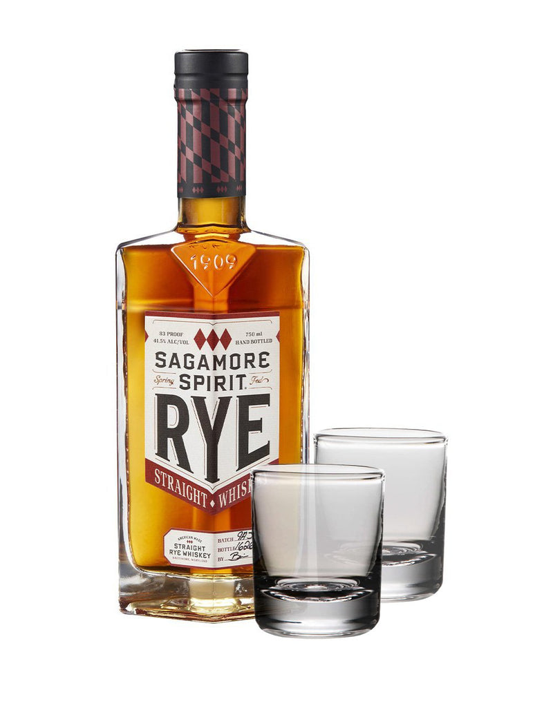Sagamore Spirit Signature Rye Whiskey with Set of Simon Pearce Ascutney Double Old-Fashioned Glasses