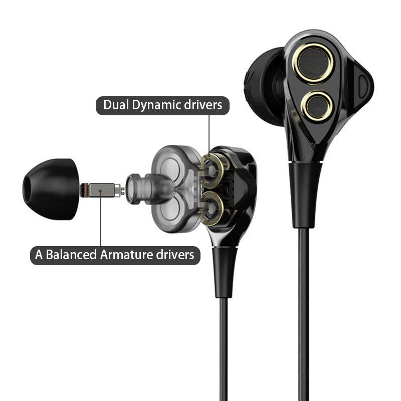 UiiSii BA-T8S Wired Black Earphones with Microphone