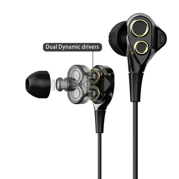 UiiSii BA-T8 wired black headphones with Microphone