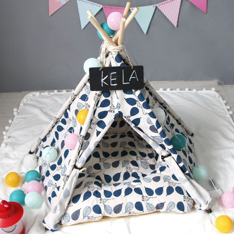 Lyla Leaf Teepee | Navy - Playful Pooch Boutique - Online Dog Pet Store