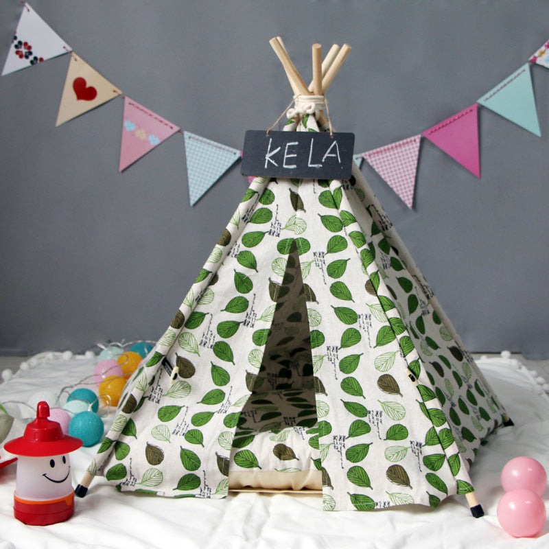 Lyla Leaf Teepee | Green - Playful Pooch Boutique - Online Dog Pet Store