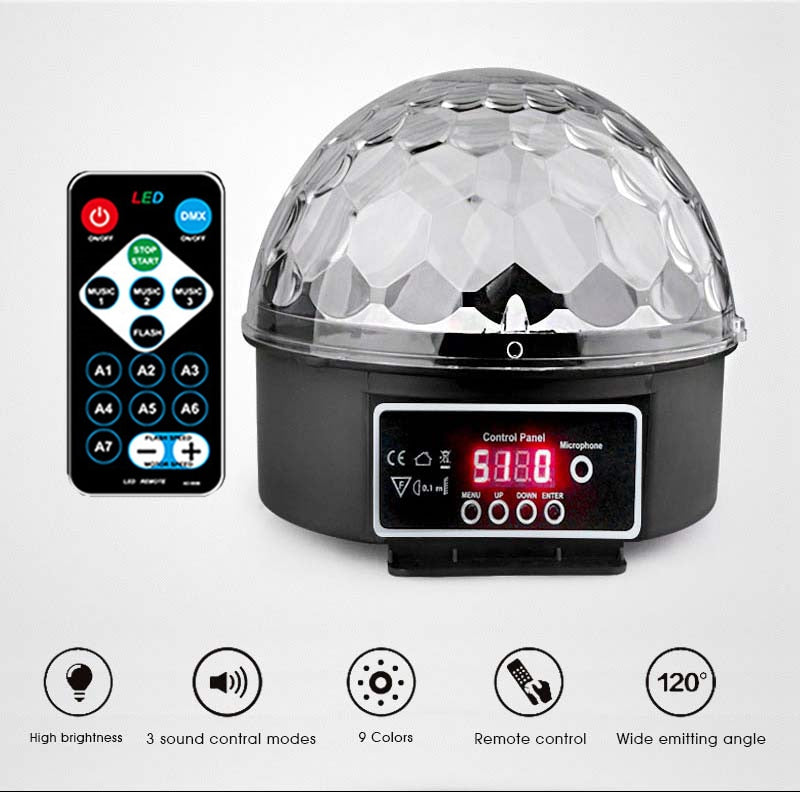 9 Colors 27W Crystal Magic Ball Led Stage Lamp