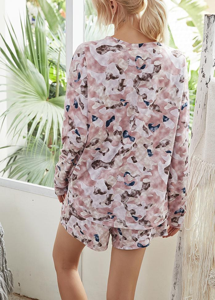 Printed Gradient Round Neck Top And Shorts Set