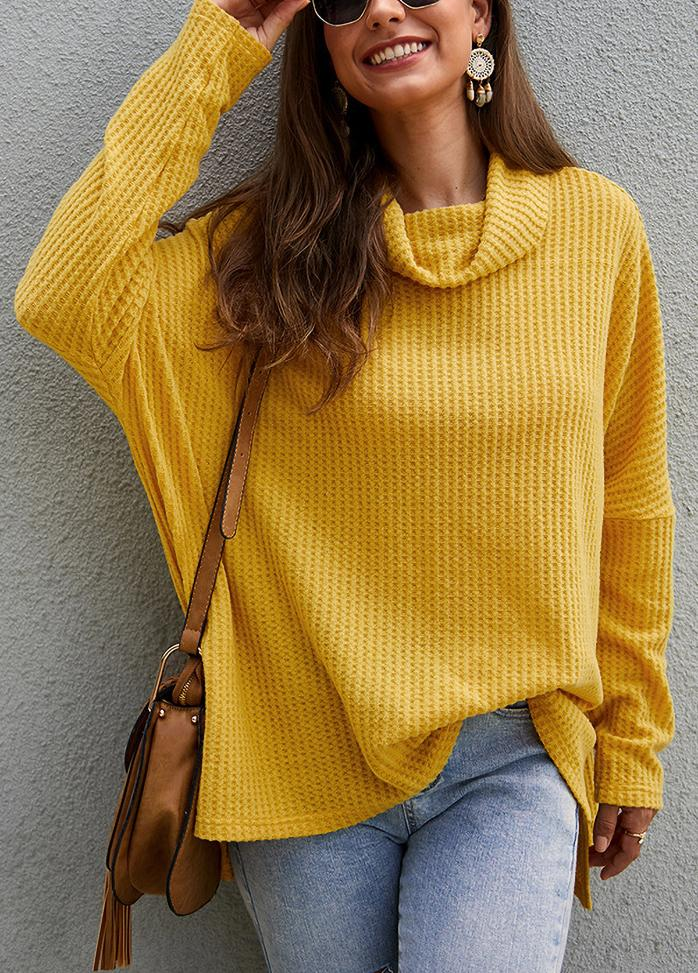 Solid Color Turtleneck Long Sleeve Sweater