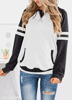 Patchwork Round Neck Long Sleeve Top