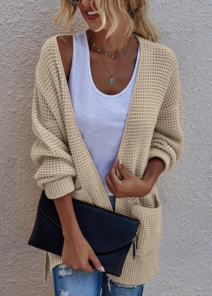 Round Neck Long Sleeve Solid Color Cardigan