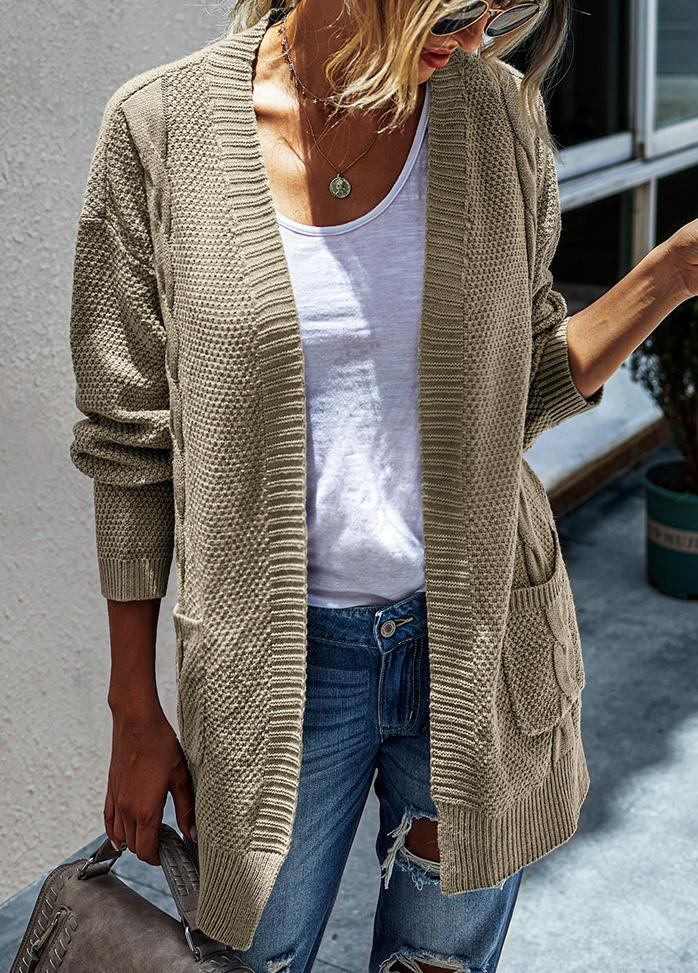 Solid Color Long Sleeve Cardigan