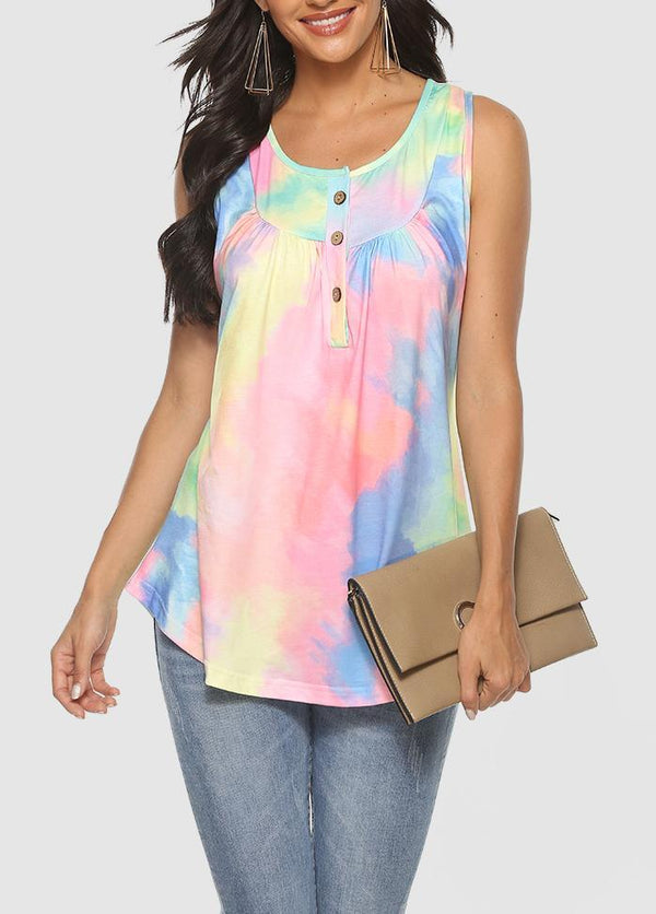 Button Gradient Sleeveless Round Neck T-shirt