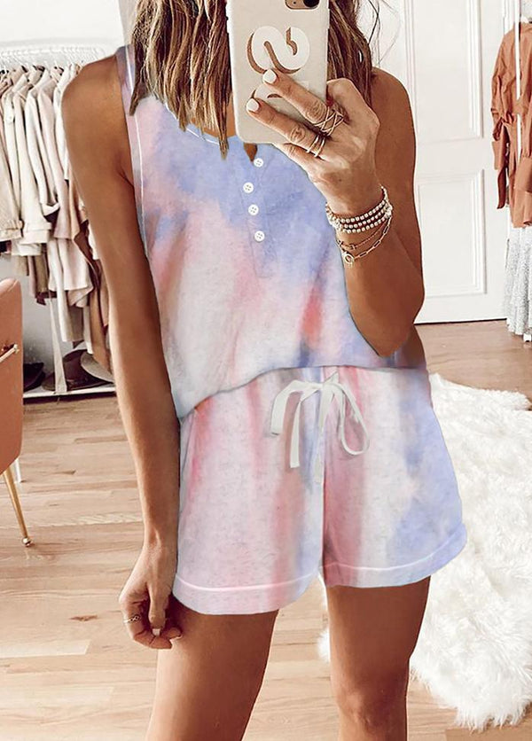 Printed Button Sleeveless Top And Shorts Set