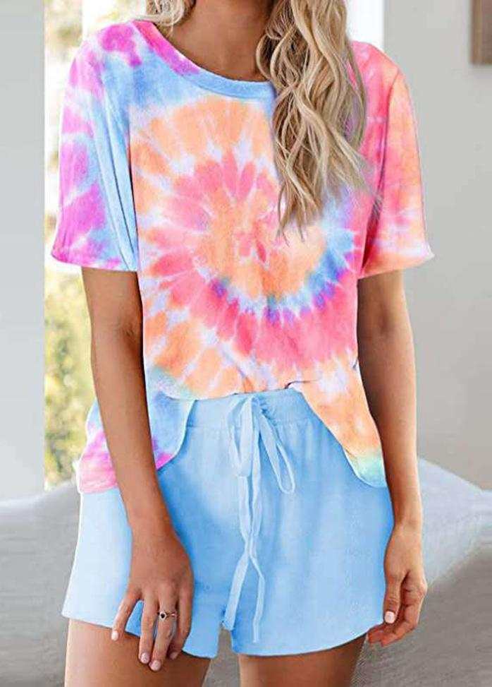 Short Sleeve Round Neck Printed T-shirt And Shorts Set