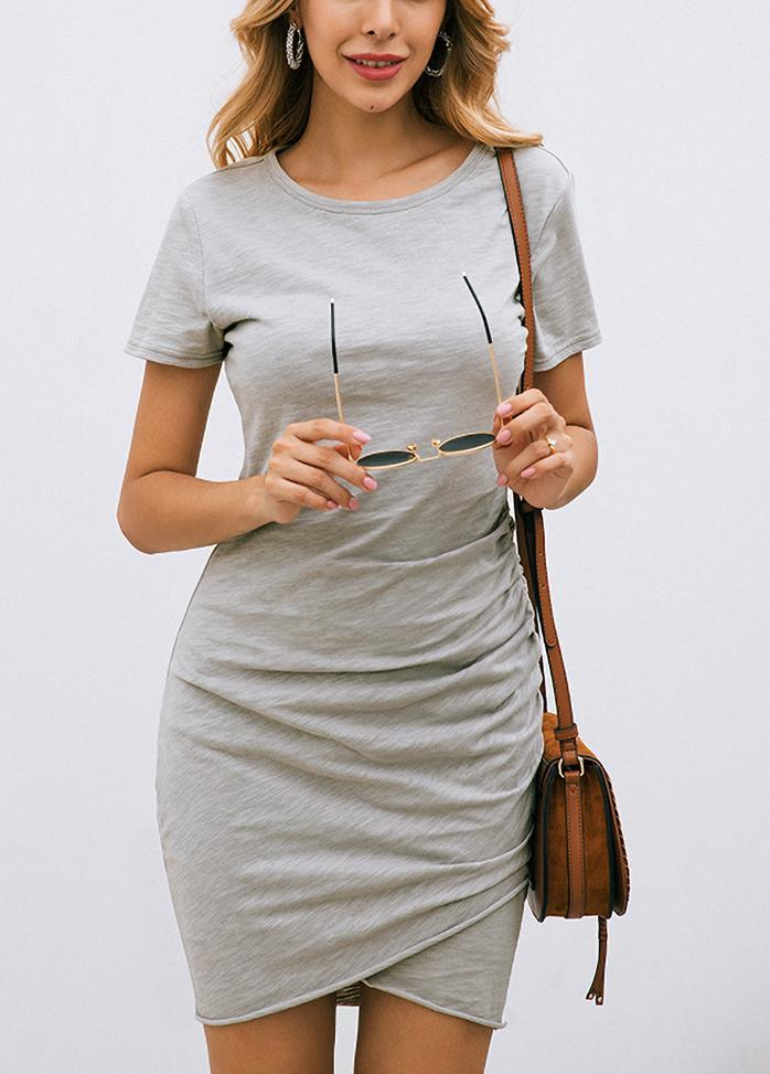 Solid Color Round Neck Short Sleeve Dress