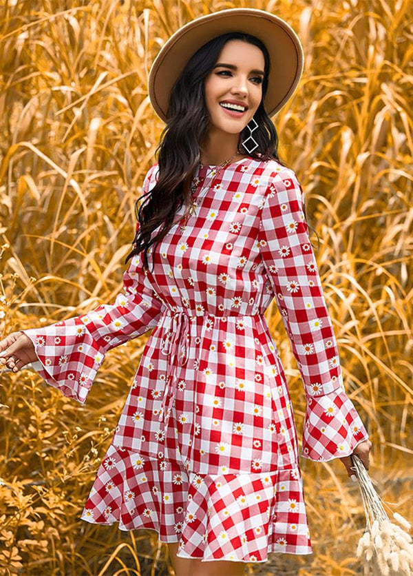 Plaid Long Sleeve Round Neck Floral Dress