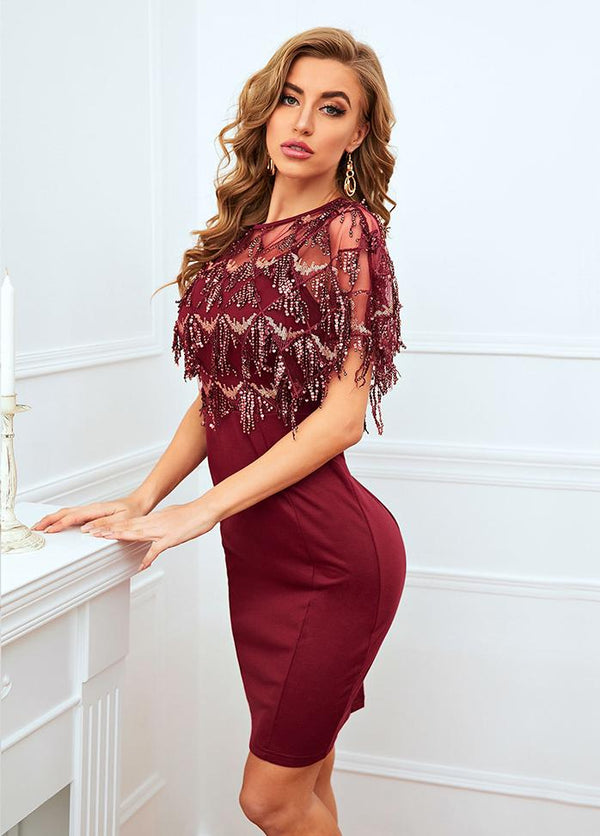 Sequins Batwing Sleeve Round Neck Dress
