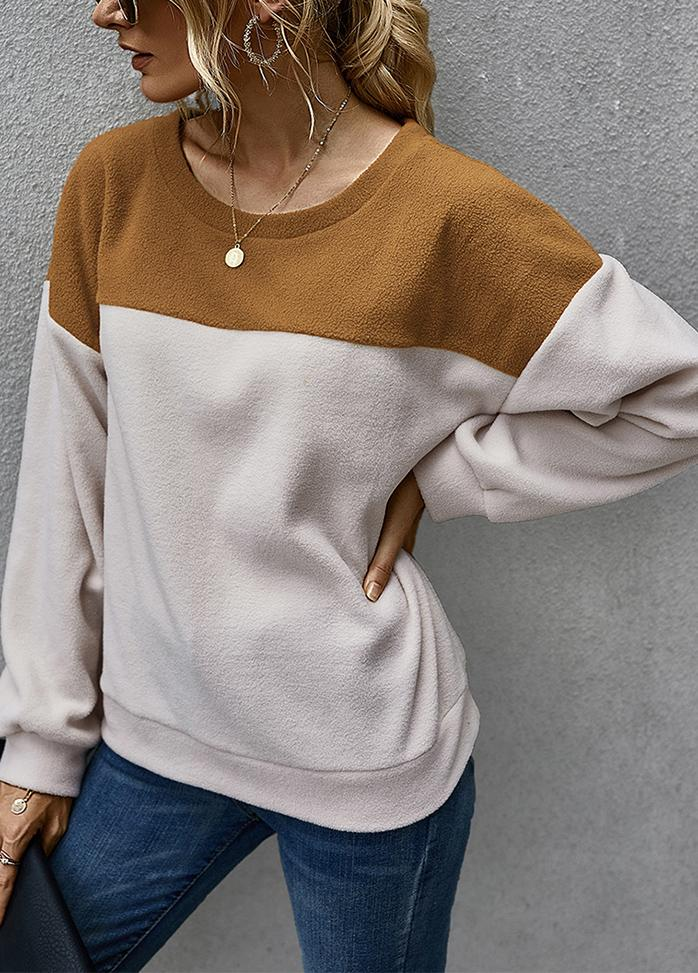 Patchwork Round Neck Casual Top
