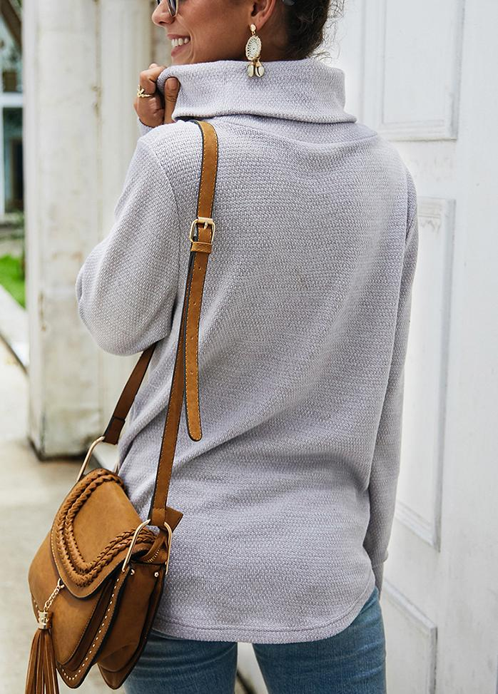 Long Sleeve Solid Color Turtleneck Sweater