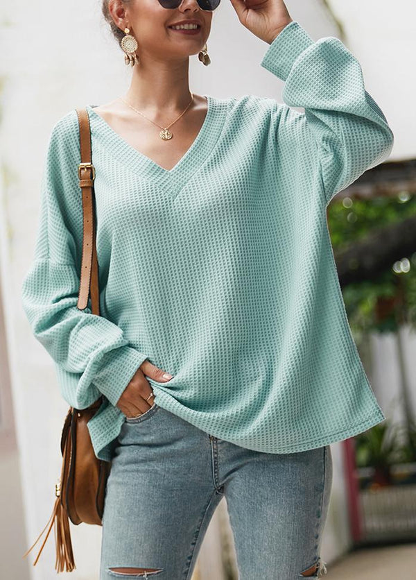 Solid Color V Neck Long Sleeve Sweater