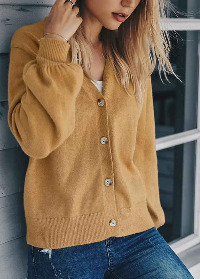 V Neck Long Sleeve Solid Color Cardigan