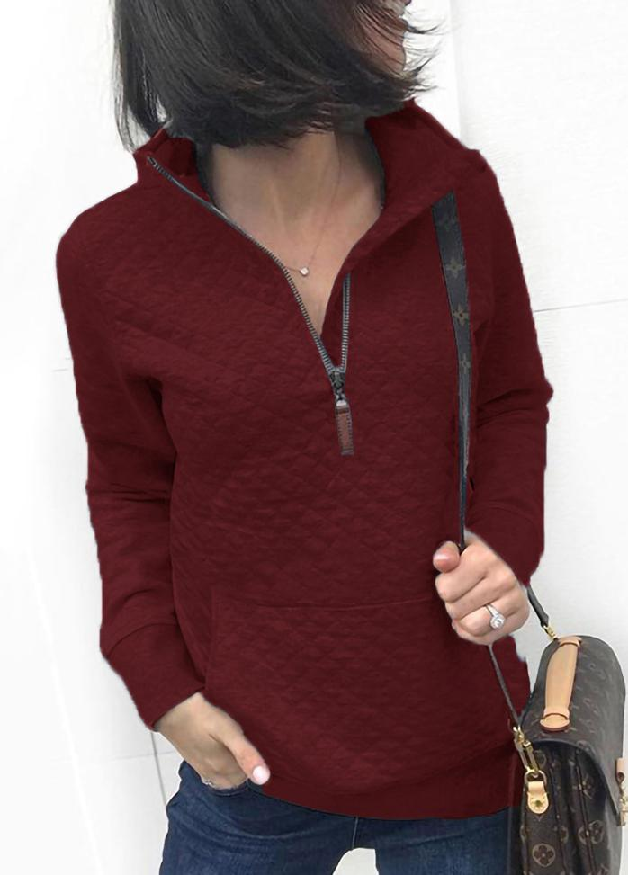 Solid Color Turndown Collar Casual Top